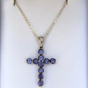 925 Lolite Crucifix Necklace